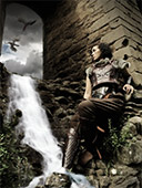 Dragons, Norse warrior and waterfall at building ruin