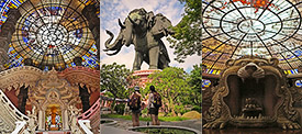The Erawan Temple's interior and exterior