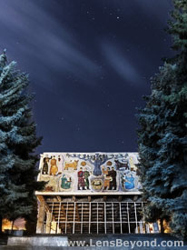 Abandoned cinema at night, Mtskheta