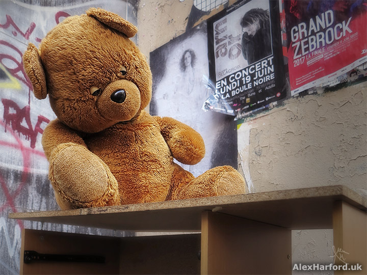 Big brown teddy bear on shelving in street