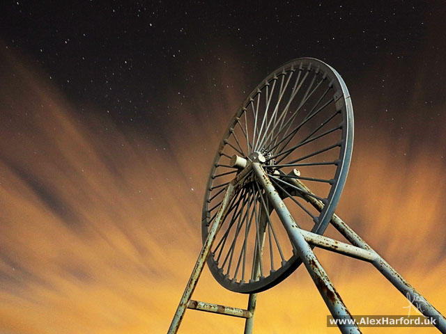Apedale pit wheel and a starry night sky