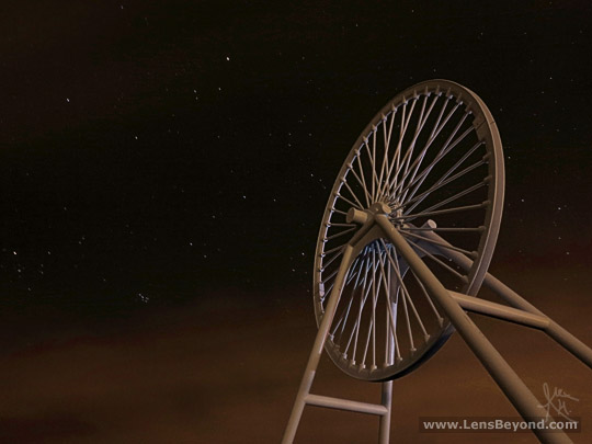 A freshly painted Apedale wheel at night