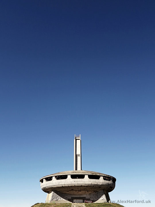 Mt. Buzludzha communist monument and blue sky