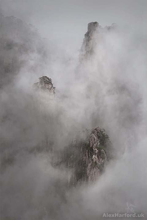 Three Peaks in Mist, Huangshan (Yellow Mountains), China