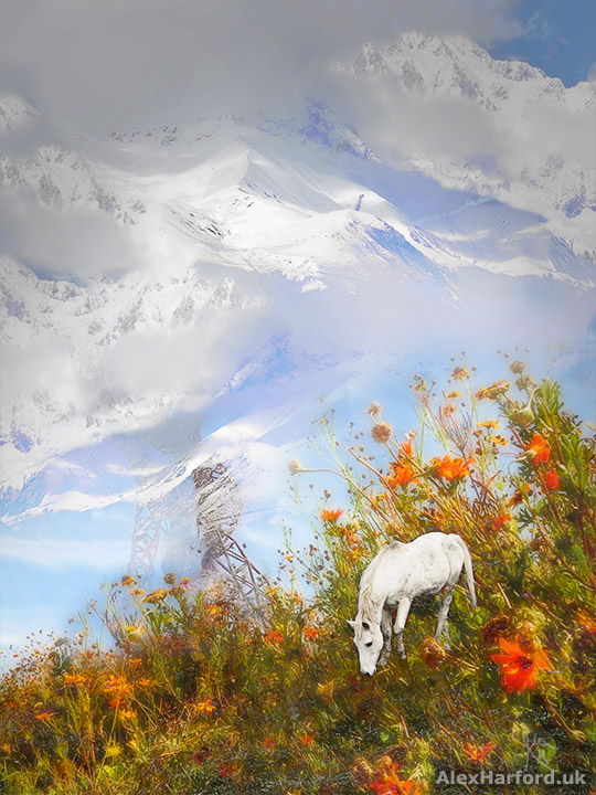 A white horse amongst big flowers with a strange red structure and snowy mountains in the background