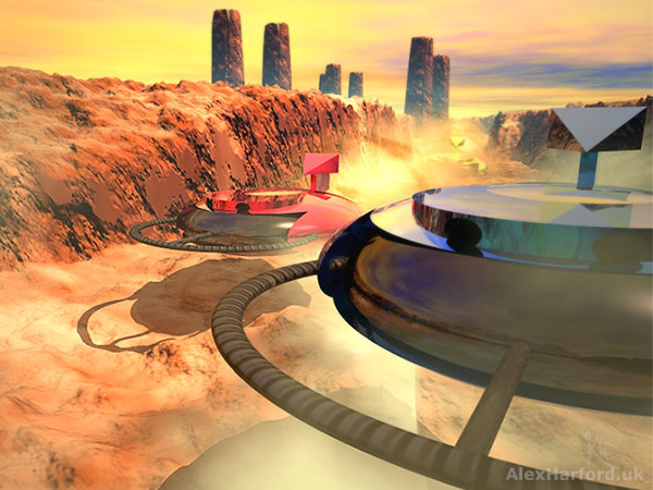 Three futuristic racing hover cars in a desert valley