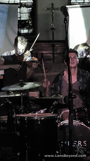 Embers' drummer Nathan at Salford Sacred Trinity Church
