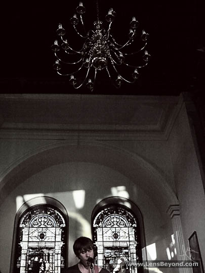 Embers' George and chandelier at Salford Sacred Trinity Church