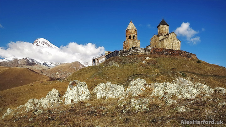 Gergeti Trinity Church and Mount Kazbek