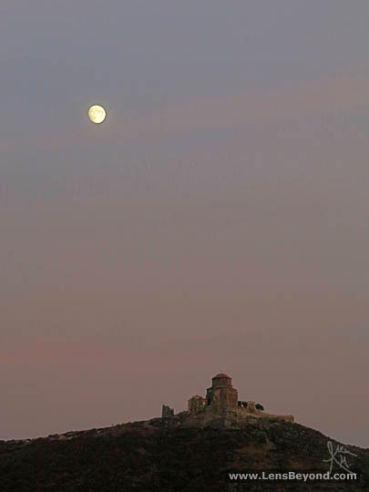 Jvari Church and moon after sunset