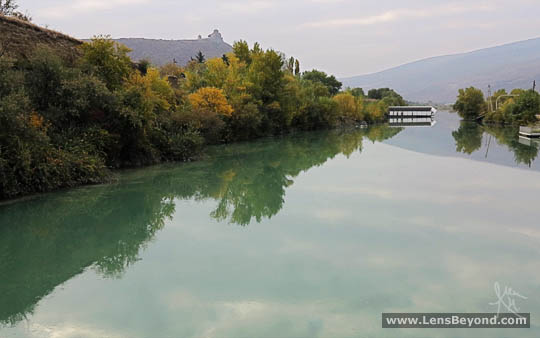 Jvari Church from a bridge over the Aragvi River
