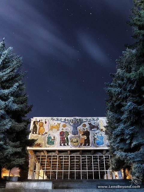 Mtskheta's abandoned cinema at night