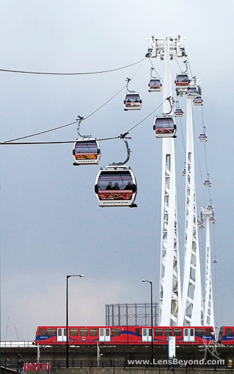 Cable Cars and Train, London