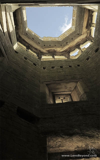 View to the sky from inside Lyveden New Bield