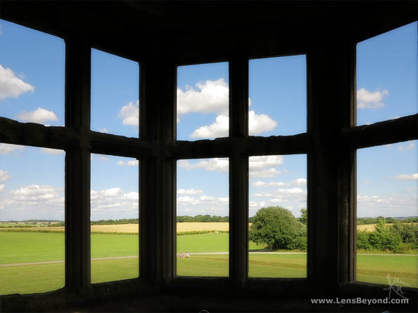 View from New Bield of fields through silhouetted windows