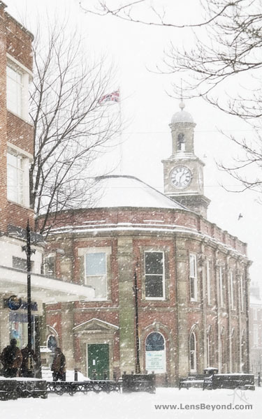 Snow covered Guildhall, Newcastle town centre