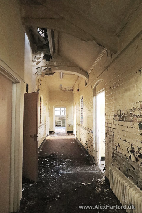 Decaying school corridor