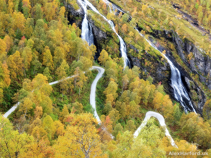 Abstract of waterfall and road with autumn trees