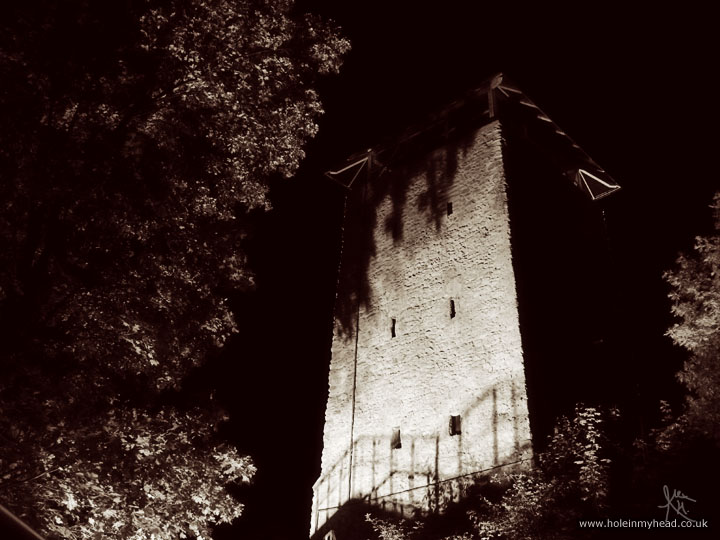 The Black Tower at night
