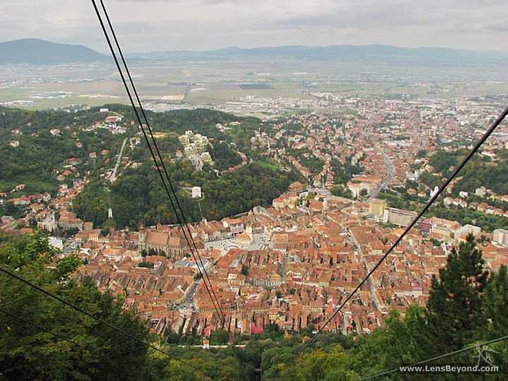 View over Braşov from a cable car rising up Mt. Tampa