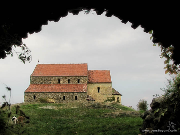Cisnădioara's Fortress Church from the walled rear entrance