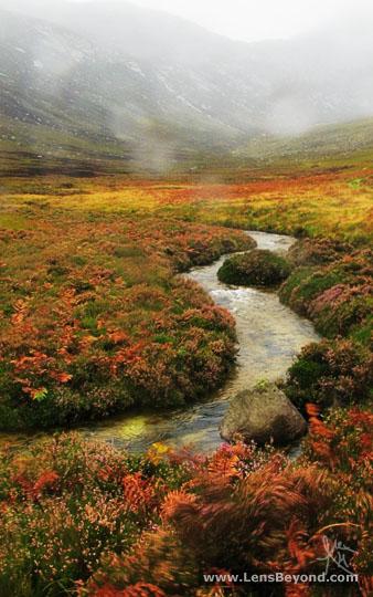 Wind and rain in an autumnal Glen Sannox