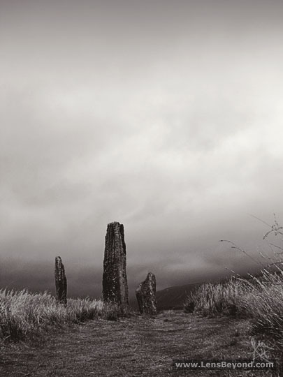 Low angle of standing stones, Machrie Moor. Black and white photo