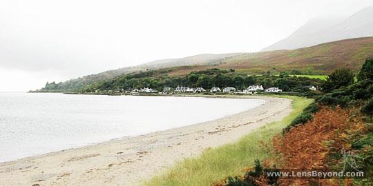 Beach at Sannox Bay and South Sannox houses
