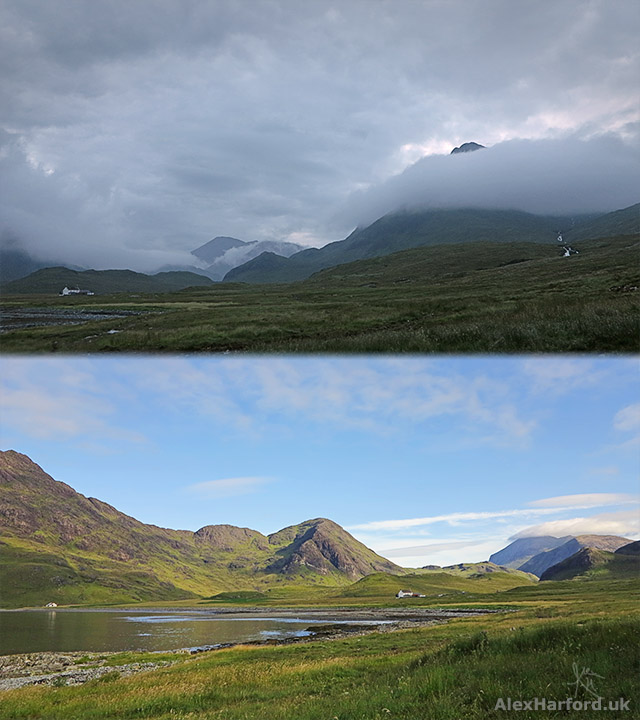 Top: Camasunary at dusk, with cloud covering Slat Bheinn. Bottom: Blue skies at morning