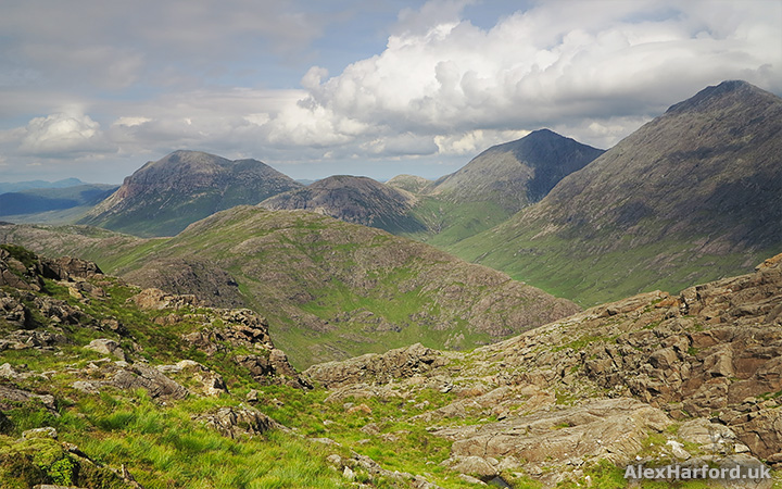A mountain view of Marsco and Blabheinn from Sgurr na Stri's summit