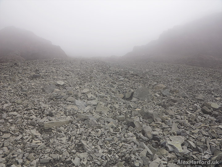 A misty scree slope (known as the Great Stone Chute) on Sgùrr Alasdair