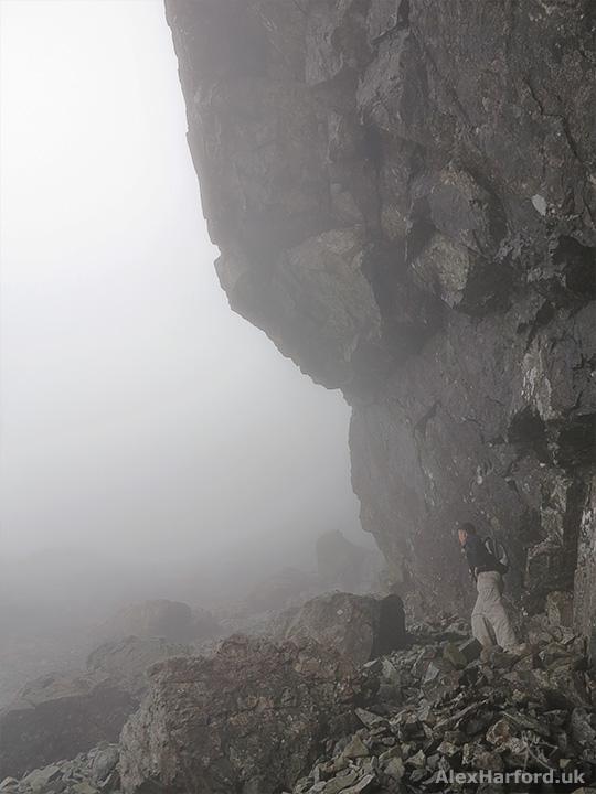 Rocky overhang on Sgùrr Alasdair