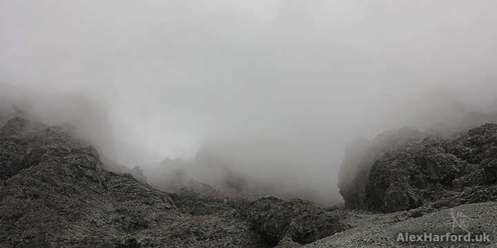 Sgùrr Alasdair rocks in mist