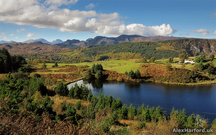 Llyn Glangors and Snowdonia mountains