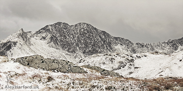 Crib Goch and Snowdon in the snow panorama, from Moel Berfedd summit