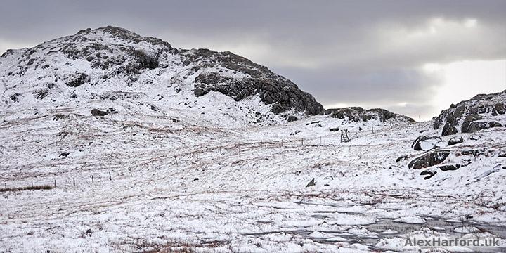 Snowy landscape of the rocky Moel Berfedd