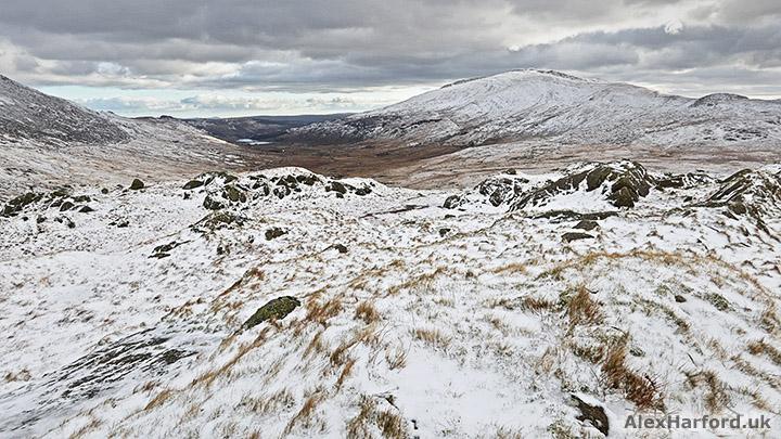 Snowy landscape looking towards Moel Siabod